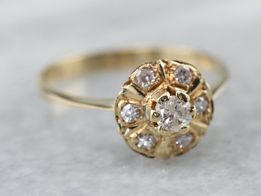Vintage Diamond Halo Gold Engagement Ring