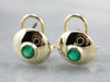 Bezel Set Emerald Gold Stud Earrings
