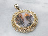 Dendritic Agate Gold Filigree Statement Pendant