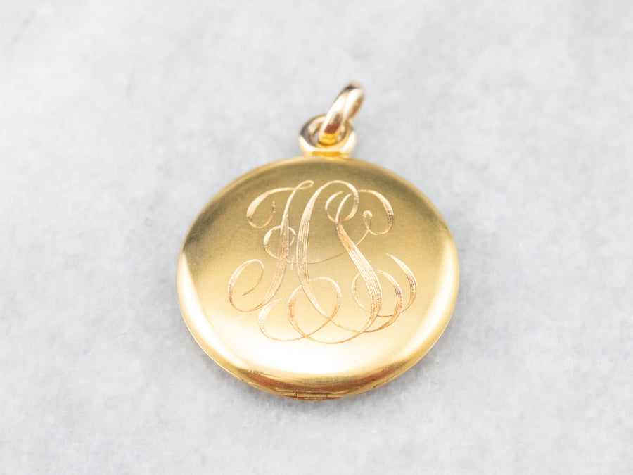 Bloomed Gold Victorian Monogrammed Locket