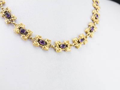 Gold Victorian Revival Amethyst Necklace