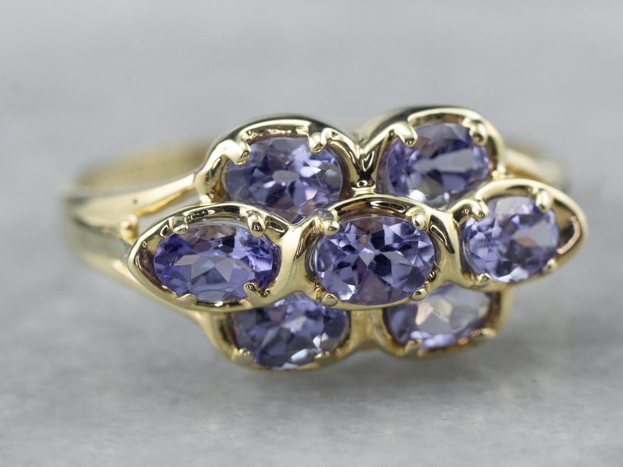Gold Tanzanite Cluster Ring