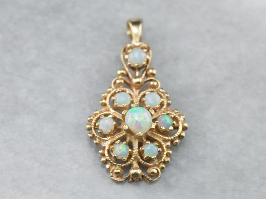 Gold and Opal Filigree Pendant