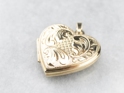 Vintage 14K Gold Heart Locket Pendant