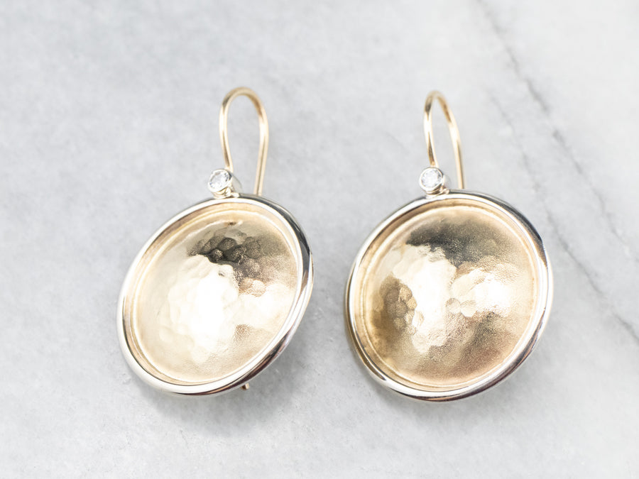 Hammered Gold and Diamond Drop Earrings