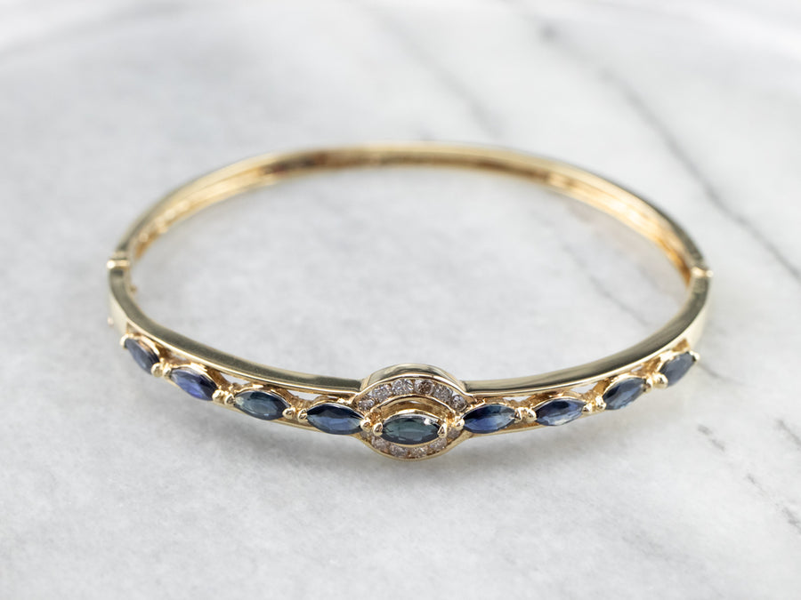 Gold Sapphire and Diamond Bangle Bracelet