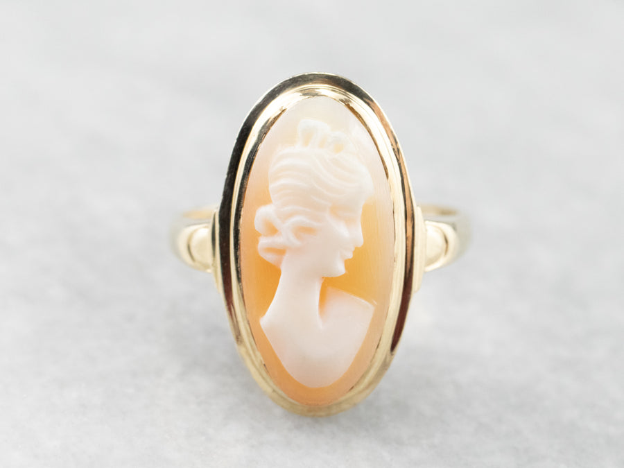 Mid Century Elongated Cameo Gold Ring