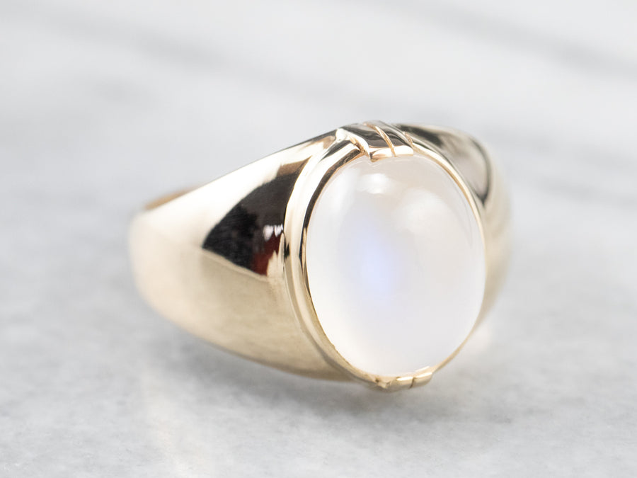 Blue Flash Moonstone Gold Statement Ring