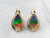 Ammolite and Diamond Gold Stud Earrings