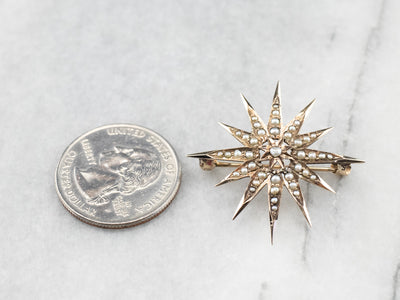 Victorian Seed Pearl Gold Star Brooch