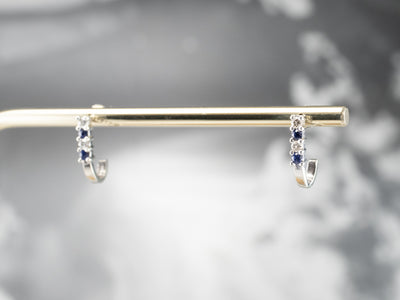 Sapphire Diamond White Gold Drop Earrings