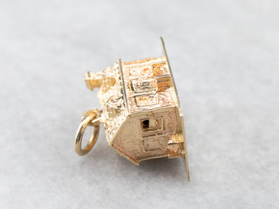 14K Gold Detailed House Charm