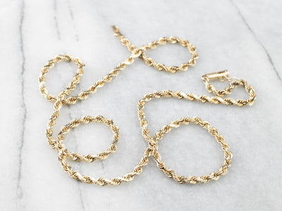 14K Gold Rope Chain Necklace with Safety Clasp