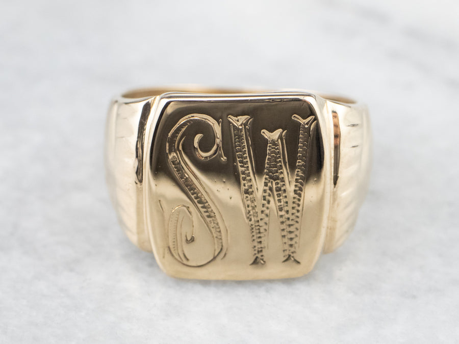 "Mid-Century ""SW"" Gold Signet Ring"