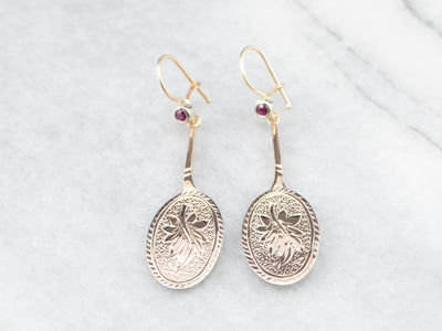 Ruby Gold Bar Drop Earrings