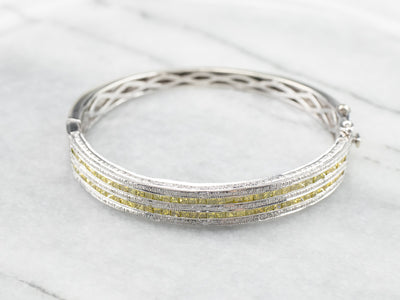 Yellow Diamond White Gold Bangle Bracelet