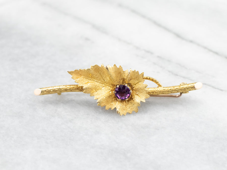 Art Nouveau Amethyst Gold Branch Bar Pin