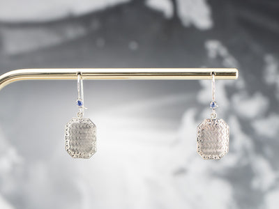 Sapphire White Gold Disk Drop Earrings