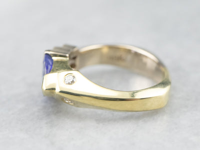 Asymmetrical Tanzanite Diamond Gold Ring