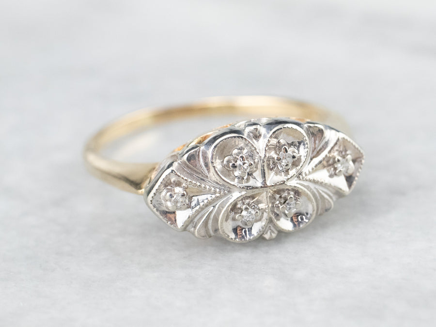 Two Tone Gold Retro Era Diamond Ring