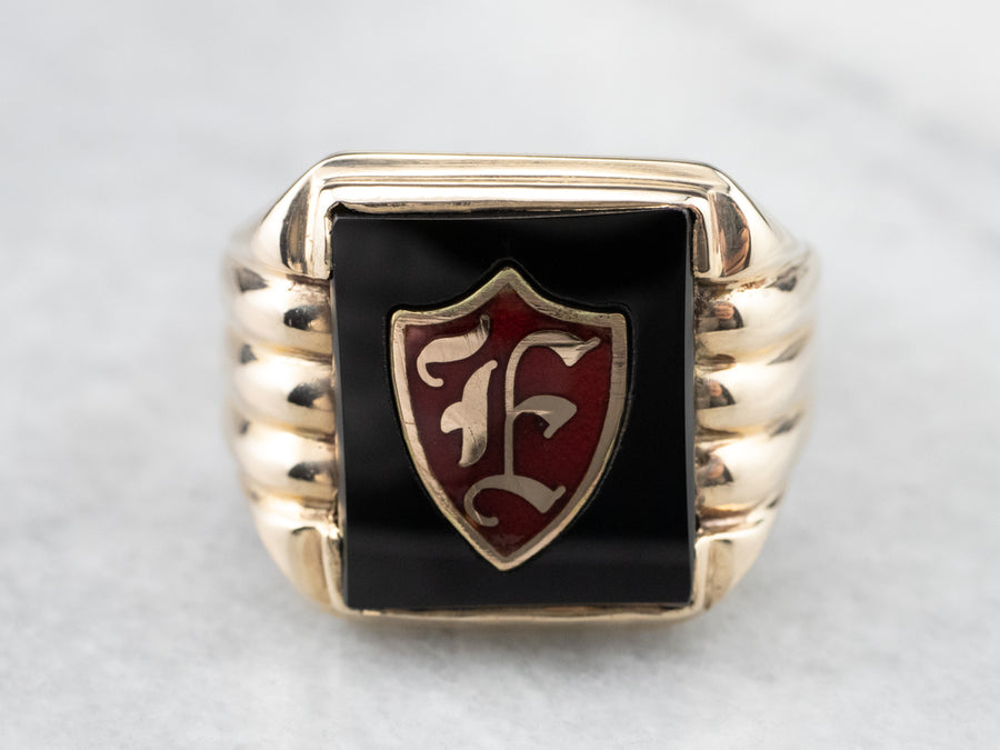 "Men's ""F"" Monogram Onyx Signet Ring"