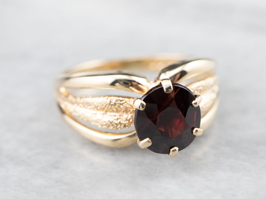 Vintage Gold Garnet Solitaire Ring