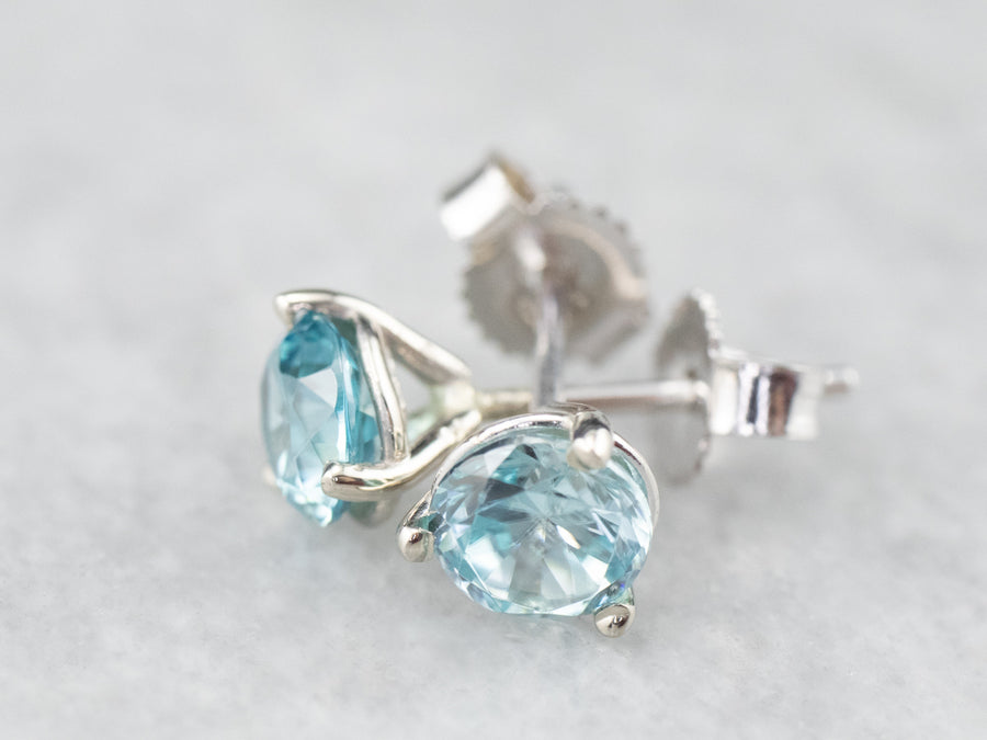 White Gold Blue Zircon Stud Earrings