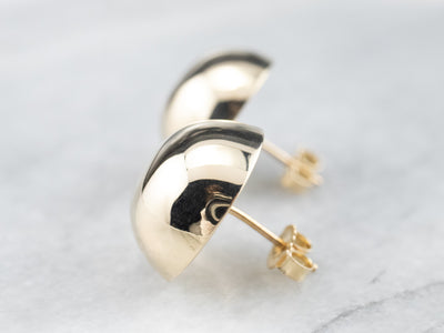 Large Gold Button Stud Earrings