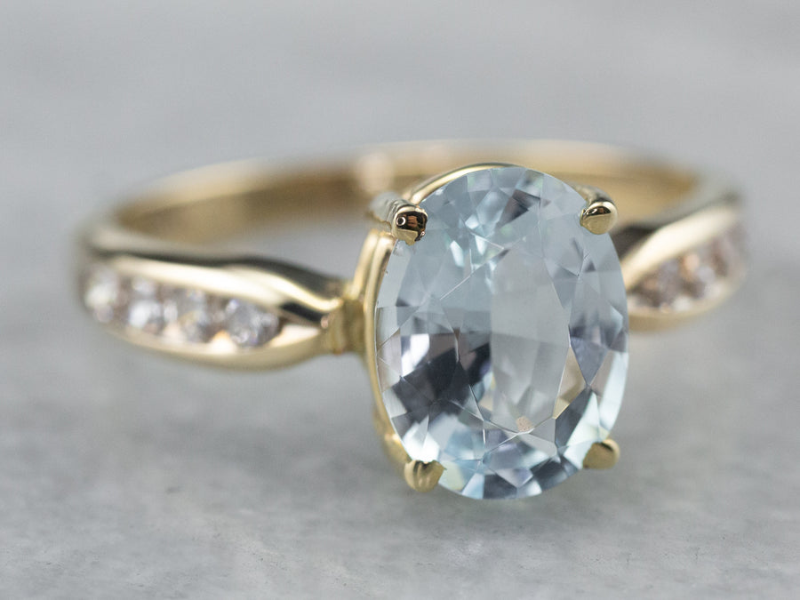 Oval Cut Aquamarine Diamond Gold Ring
