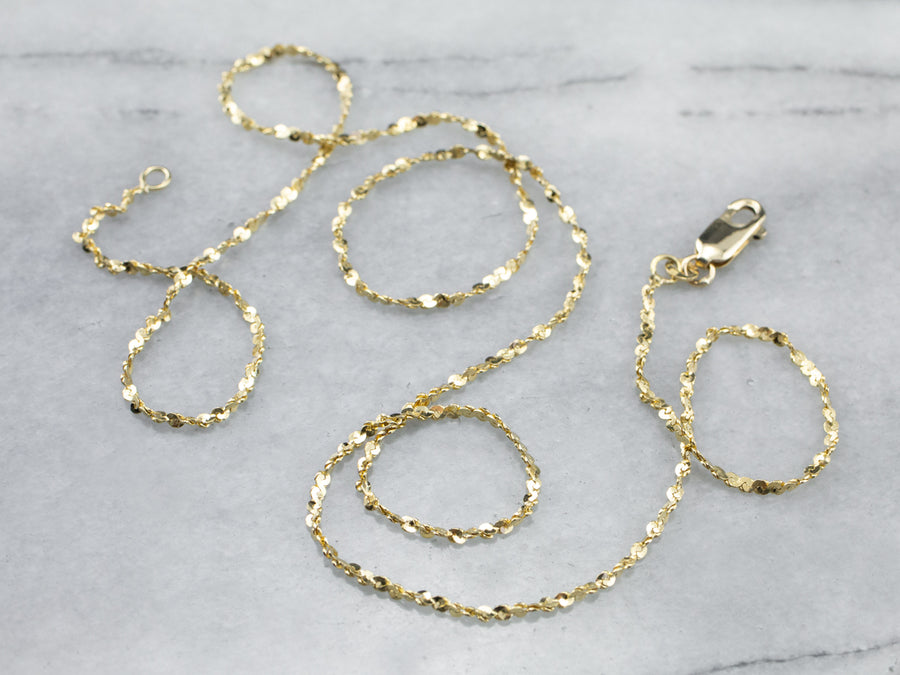 14K Gold Tinsel Chain Necklace