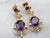 Victorian Revival Amethyst Gold Filigree Drop Earrings