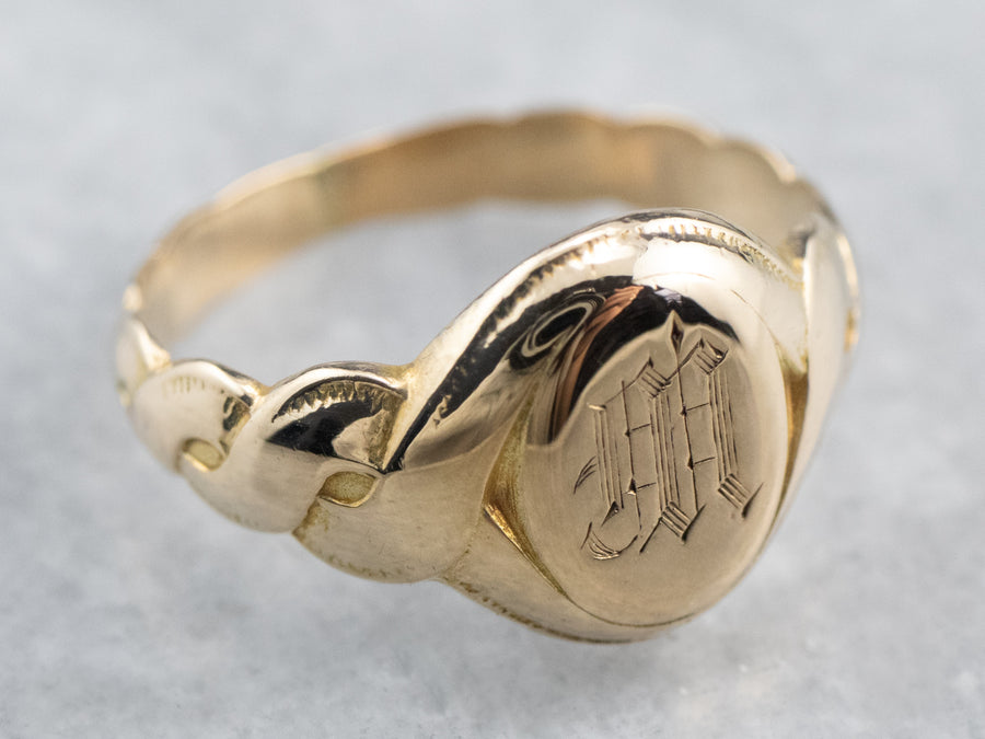 "Antique ""M"" Monogram Gold Signet Ring"