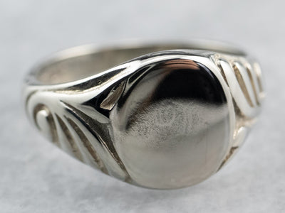 Vintage White Gold Patterned Signet Ring