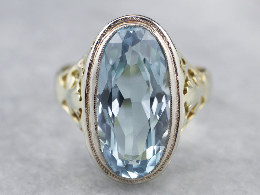 Art Nouveau Blue Topaz Solitaire Ring