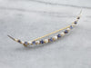 Crescent Moon Sapphire and Pearl Brooch