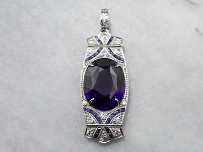 Deco Amethyst Diamond and Sapphire Cocktail Pendant