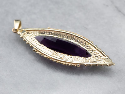 Gold Marquise Amethyst Pendant