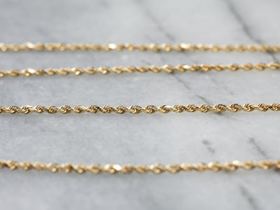 Long Yellow Gold Rope Twist Chain