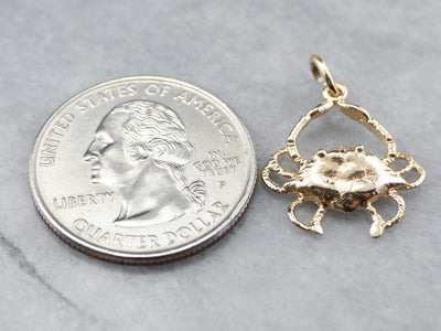 Vintage Gold Crab Charm or Pendant