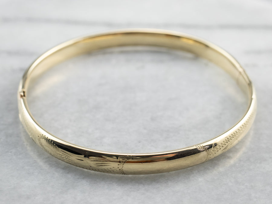 Vintage Etched Gold Bangle Bracelet