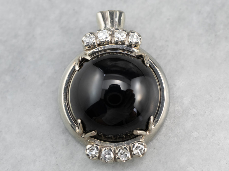 Sleek Diamond and Black Onyx Pendant