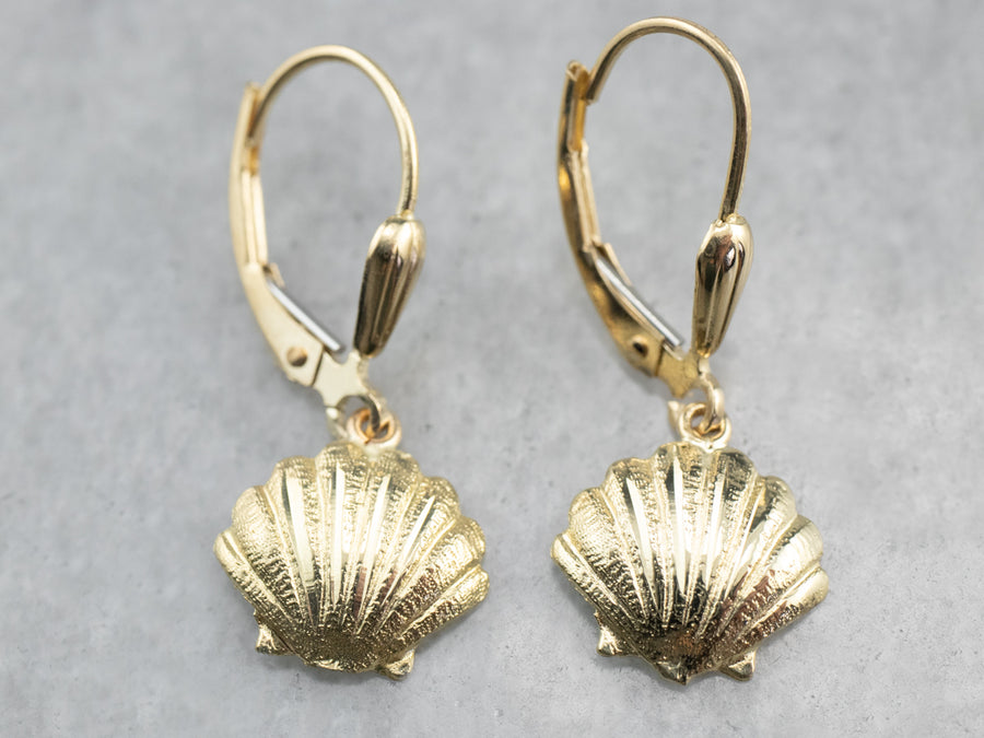 Gold Scallop Shell Drop Earrings