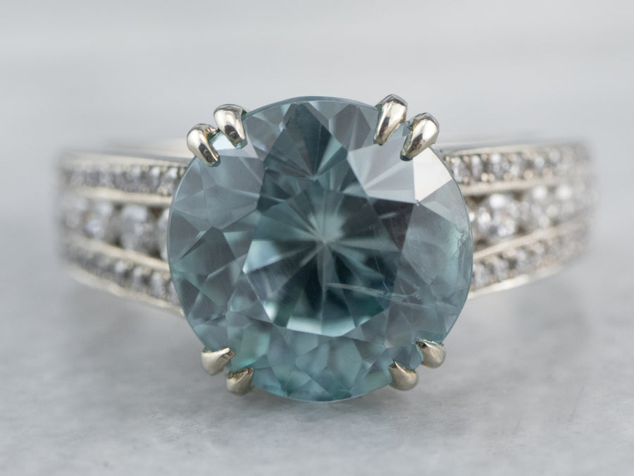 Modern Blue Zircon and Diamond Cocktail Ring