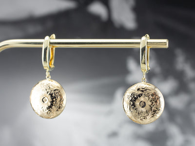 Engraved Gold Flower Drop Earrings