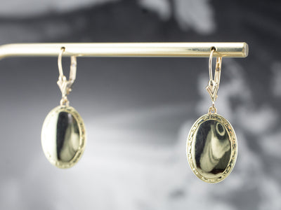 Antique Etched Cufflink Drop Earrings