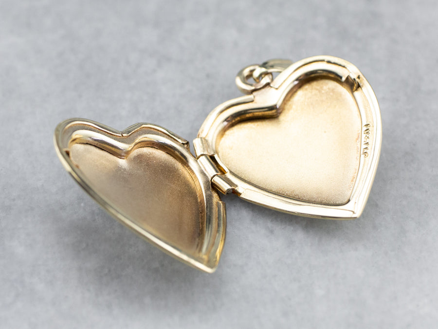 Gold Sweet Love Birds Engraved Locket