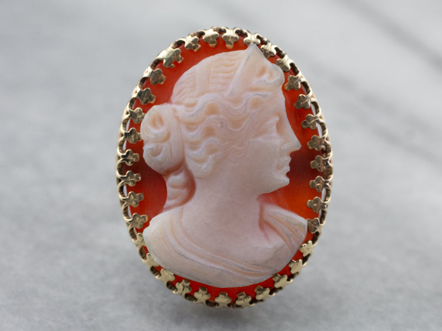 Large Sardonyx Cameo Cocktail Ring