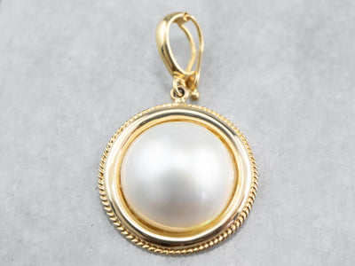 Yellow Gold Mabe Pearl Pendant