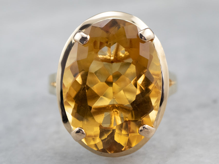 Yellow Gold Citrine Cocktail Ring