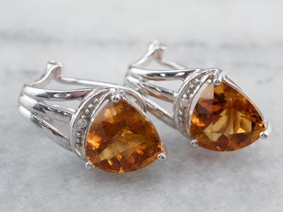 Citrine and Diamond White Gold Earrings